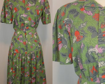 1940s Green Cabbage Rose Novelty Print Dress (M L)