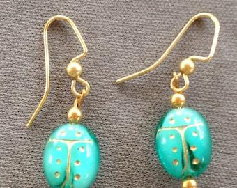 Aqua ladybug earrings