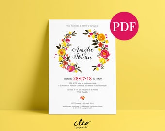 Cleo stationery - wedding invitation wreath - customizable template in pdf format