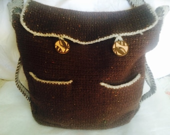 Rich Brown Crocheted Felted Wool Messenger Bag with Front Pockets and Decorative Wooden Buttons