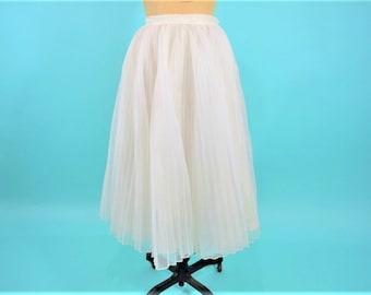 """1950s party skirt   white pleated full party high waist skirt   vintage 50s skirt   W 24"""""""