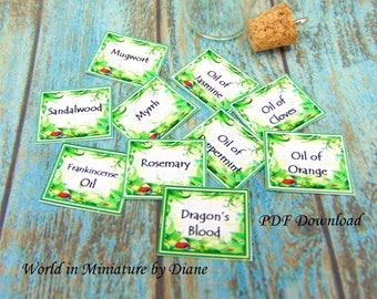 PDF Dollhouse Herb Labels, 1:12 Herb Labels, PDF Dollhouse Labels, Dollhouse Wiccan Magic Spells, Dollhouse Digital Download