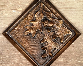 Oak Leaf & Acorn Tile - 4x4 inches hand poured in Montana, Several patina colors to choose from