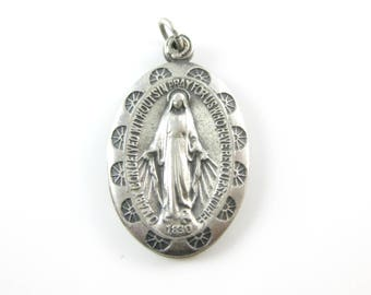 Pendant, Sterling Silver, Catholic, Large, Vintage, Virgin Mary, Conceived Without Sin, Religious Jewelry