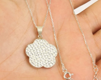 Solid sterling  silver topaz necklace pendant