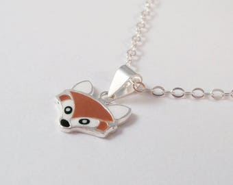 sterling silver fox necklace, sterling silver enamel fox necklace, fox necklace, gift for fox lover, gift for daughter, brown fox necklace