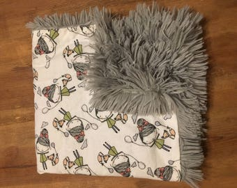 Shaggy minky snuggle blanket-little girl and fox
