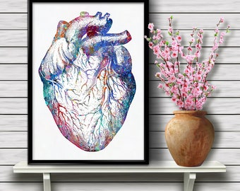 Human Heart Anatomy, Muscular Organ, Biology, Science Watercolor, Atria and Ventricles, Home Decoration, Medical Art, gift, Print (08)