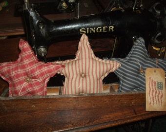 Primitive STARS Three (3) Homespun Bowl Filler Ornies Rustic Folk Art OFG HAFAIR Teams
