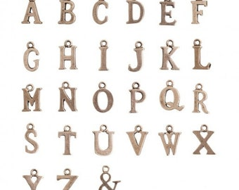 Antique Silver Initial Charms (27 per pack)