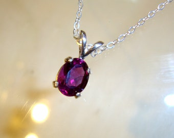 Pendant Purple Amethyst Grapette pendant 8x6 mm in sterling silver - eco-friendly sources, natural gemstone, .925 chain  February Birthstone