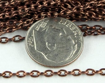 32 feet of Antique Copper Plated Chain Bulk Chain, Round cable chain - 3.0x2.0mm - unsoldered link
