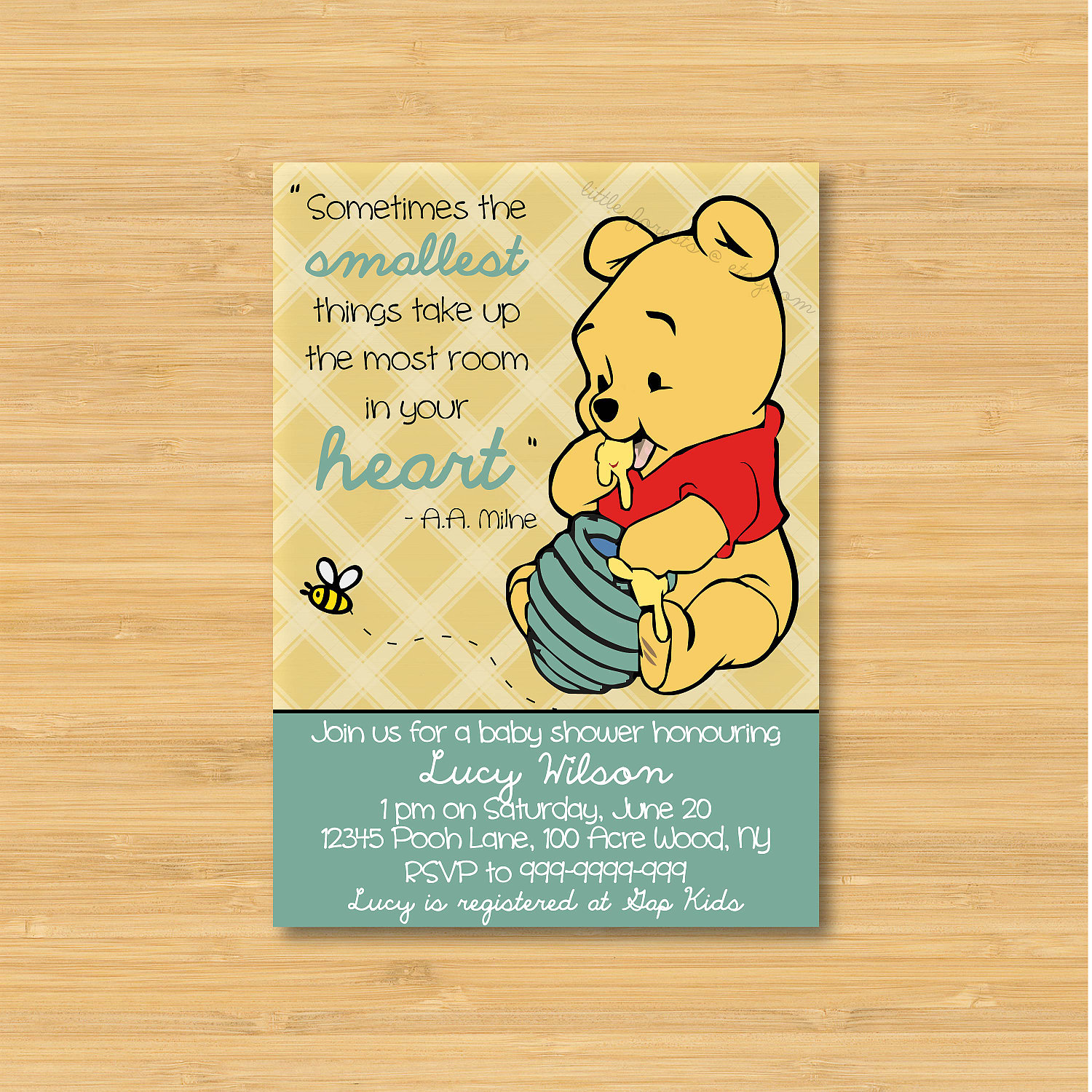 Winnie The Pooh Baby Shower Invitation Printable The