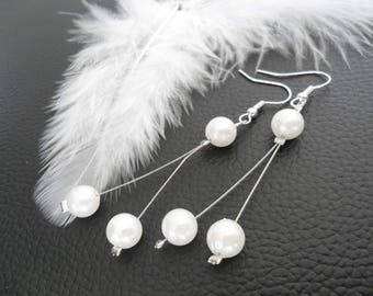 Wedding Pearl Earrings White Pearl
