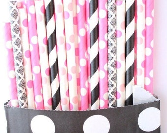 Black and pink straws-set of 25, minnie mouse party, pink and black straws