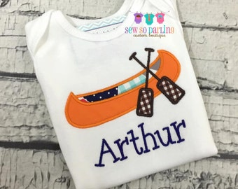 Boy Camping Shirt - Baby boy canoe shirt - Personalized baby boy summer shirt - Boy Camping Shirt - Baby Boy Canoe personalized shirt