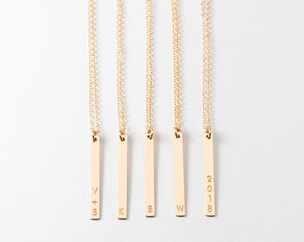 Dainty Vertical Bar Necklace - Personalized Initials Necklace - Minimal Bar Necklace - Everyday Necklace