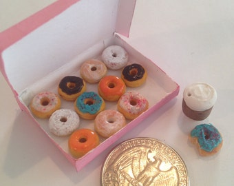 1:12 Scale Box Of Donuts & Coffee Cup Dollhouse Miniature