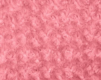 Coral Rosebud Cuddle Minky Fabric, Sold by The Yard