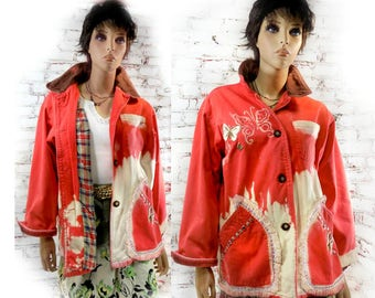 red jacket - Women's Jean jacket , red Upcycled jacket, , Bohemian jacket , red grunge jacket , over sized  jacket - red Eco coat , # 183