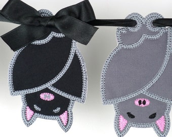 """Sleepy Bat Bunting In The Hoop Banner Project Machine Embroidery Design Applique Patterns for Halloween in 6 sizes 4"""", 5"""", 6"""", 7"""", 8"""" and 9"""""""