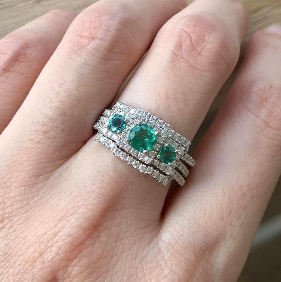 Genuine Emerald Engagement Ring Set Three Stone Emerald Ring