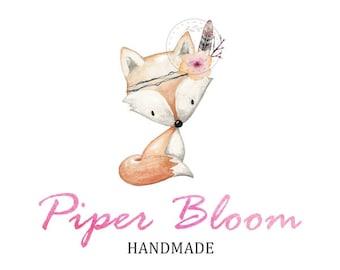 Premade Logo Fox Kids Woodland Animals Handmade Baby Accessories Clothes Custom Shop Logo Business Card Branding Design Wedding Signs LD279