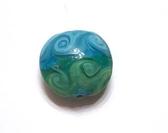 10 pieces 20mm Blue Green Lampwork Glass Beads, Beach Beads, Ocean Beads