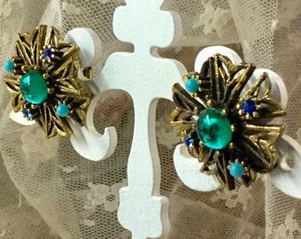 Maltese Cross Green Blue Turquoise Cabochon Earrings Antiqued Gold Tone Metal Unsigned Clip On 1970's 1980's