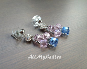 Pierced dangle with silver colored Crystal beads earrings