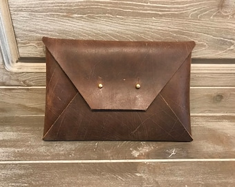 Distressed Leather Envelope Clutch