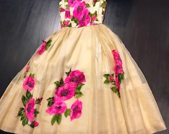 Gorgeous 1950s organza floral applique satin bodice dress XS