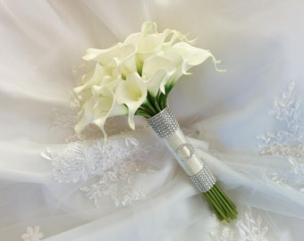 Silk wedding bouquet Natural Touch Ivory Calla Lilies Bridal Wedding Bouquet