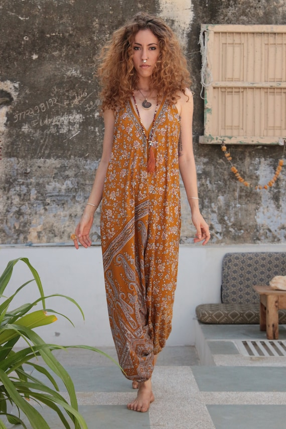 BOHO FLOWER JUMPSUIT - Summer - Wedding - Festival - Handmade - Vintage - Hippie - Backless - Couture - Up cycle - All in one - Harem - Gift