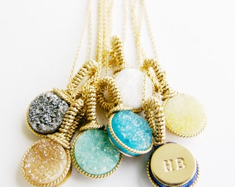 Wedding Party Gift Ideas/ Handcrafted Gifts by Bare and Me/ Druzy Necklace Bridal Gifts/ Personalized Druzy Necklace/ Gifts Under 50/For Her