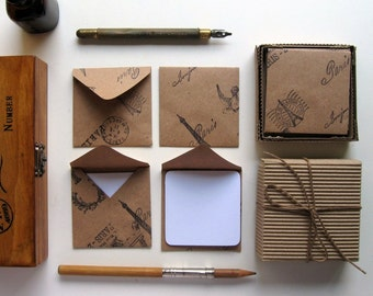 Paris Stamps on Kraft Paper Mini Stationery Set