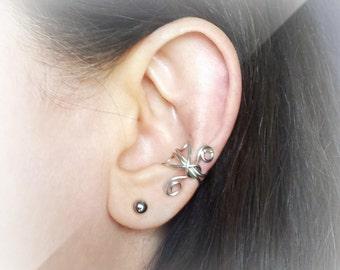 Silver Ear Cuff Silver plated Ear Wrap
