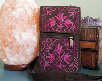 Handcrafted Kashmir Boho Chic Suede Leather Passport Style Crossbody Purse in Brown