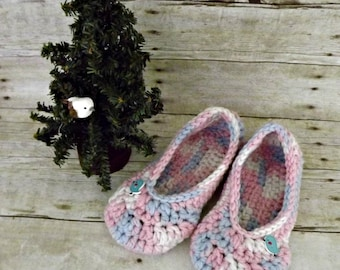 Crochet slippers for women pink and blue with little blue bird buttons size 9 10 ready to ship