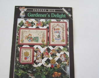 Gardener's Delight Counted Cross Stitch Dimensions Charts Leaflet by Barbara Mock, Counted Cross Stitch Set of 3 Garden Designs