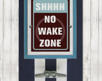 Framed Nautical Nursery Print Shhhh No Wake Zone in Orange and Turquoise