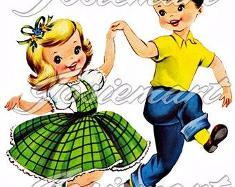 Vintage Digital Download Boy and Girl Dancing Vintage Image Collage Large JPG