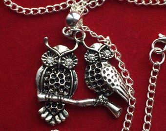 Owls necklace  , rhinestone owl , owl pendant , owl jewellery
