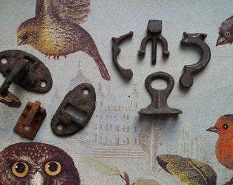 Metal Findings // Steampunk Mixed Media Metal Art Supply // Industrial Lot Shutter Hinges Odds & Ends