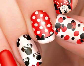Minnie Mouse Disney nail transfers - illustrated nail art decals - Minnie Disney nail stickers