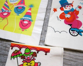 Vintage Paper Napkins, Three Sets of 1960s Paper Party Napkins, Vintage Birthday Clowns, Clown Paper Ephemera for Scrapbooking, Art Projects