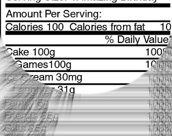 Birthday Nutrition Facts Label