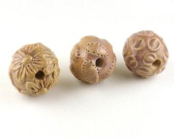 Pink Mauve Ceramic Bead Set, stoneware bead set, stoneware beads, ceramic beads, handmade beads, beads for jewelry, project beads, beads
