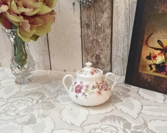 Vintage Wedgwood Bone China Double Handle Trinket Pot with Lid in the Posy Design