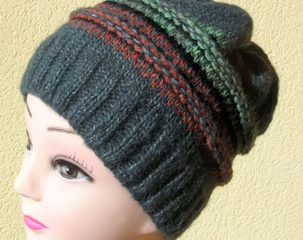 Fair Isle Winter Hat, Wool Beanie, Hand Knitted, Grey Hat, Rowan Alpaca, Shetland Yarn, Adult Size, Slouchy Hat, M D Walker Designs